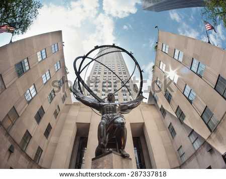 NEW YORK CITY - MAY, 2015: Atlas statue at Rockefeller Center on Fifth Avenue. The sculpture is 15 feet tall, the entire statue is 45 feet tall, by sculptor Lee Lawrie. - stock photo