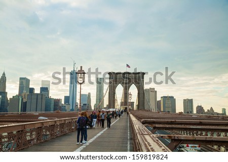 NEW YORK CITY - MAY 10: Brooklyn bridge on May 10, 2013 in New York City. It's a bridge in New York City and is one of the oldest suspension bridges in the United States.