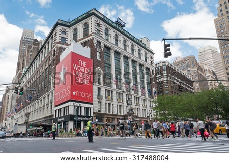 NEW YORK CITY - MAY 13, 2015: Historic Macy's Herald Square at 34th Street. Macy's is a mid-range chain of department stores owned by American multinational corporation Macy's, Inc. - stock photo