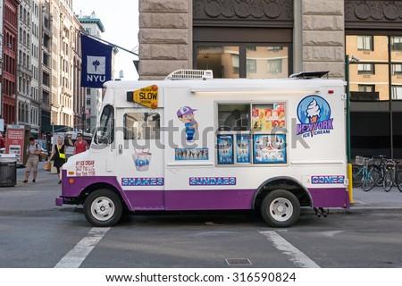 NEW YORK CITY - MAY 8, 2015: ice cream seller on the street close to Washington square, Manhattan. - stock photo