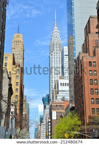 NEW YORK CITY - May 10, 2014: Manhattan Skyline with Chrysler Building in the spring, New York City, USA. - stock photo