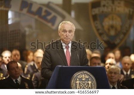 NEW YORK CITY - MAY 5 2016: Mayor Bill de Blasio & commissioner William Bratton presided over the unveiling of 19 new names on the NYPD's memorial wall. Commissioner Bratton speaks prior to unveiling