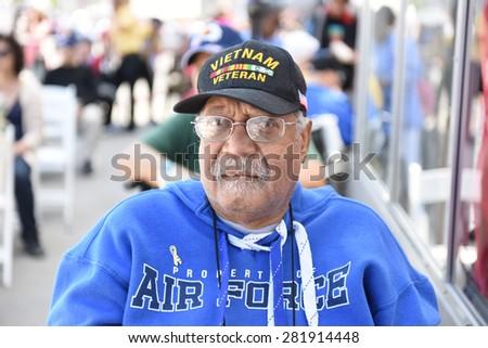 NEW YORK CITY - 25 MAY 2015: Mayor Bill de Blasio & Gen John Kelly presided over Memorial Day observances on Pier 86 by the USS Intrepid. Military veteran on pier 86 - stock photo