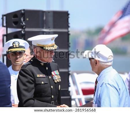 NEW YORK CITY - 25 MAY 2015: Mayor Bill de Blasio & Gen John Kelly presided over Memorial Day observances on Pier 86 by the USS Intrepid. General John Kelly, USMC on pier 86 - stock photo