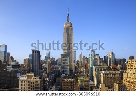 New York City - May 31, 2015: New York City Manhattan Midtown view with Empire State Building. May 31, 2015 New York City, USA.