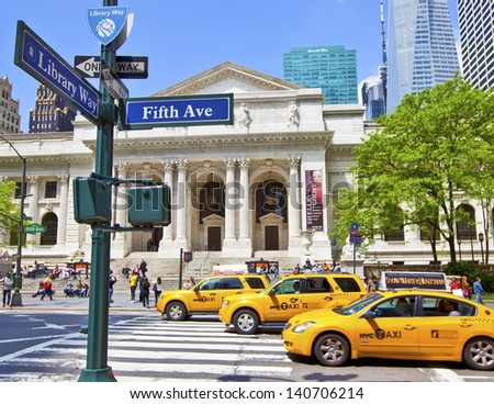 NEW YORK CITY - May 6: New York Public Library founded in 1895 on 5th Avenue on May 6, 2012 in Manhattan, New York City. - stock photo