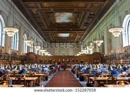 NEW YORK CITY - MAY 5: New York Public Library, the third largest public library in North America. Detail of the ceiling of the Rose main reading room. May 5th, 2013 in Manhattan, New York City. - stock photo