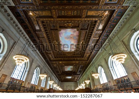 NEW YORK CITY - MAY 5: New York Public Library, the third largest public library in North America. Detail of the ceiling of the Rose main reading room. May 5th, 2013 in Manhattan, New York City.