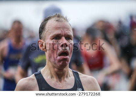 NEW YORK CITY - MAY 16 2015: New York Road Runners held its annual Brooklyn half-marathon where more than 20000 runners filled a 13.1 mile course that ended on the Coney Island Boardwalk - stock photo