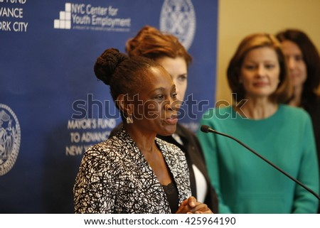 NEW YORK CITY - MAY 17 2016: NYC first lady Chirlane McCray led a press conference at Time Warner Center to announce strategies to enhance youth employment. First lady Chirlane McCray - stock photo