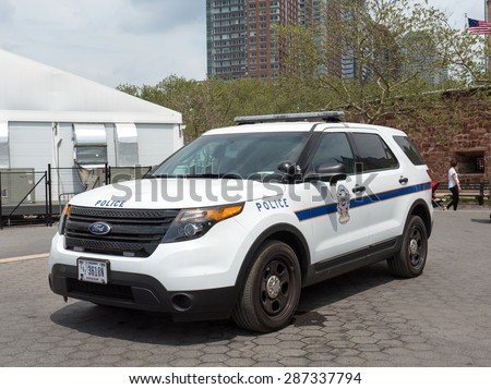 NEW YORK CITY -  MAY 2015: NYPD Police car at Battery Park. The New York City Police Department, established in 1845, is the largest municipal police force in the United States.  - stock photo