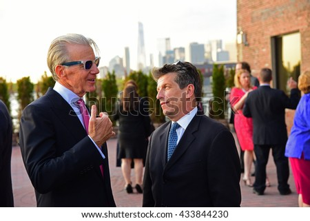 NEW YORK CITY - May 19 2016: Officials of the Brooklyn Kindergarten Society, one of the nation's oldest early education societies, hosted its annual gala in Red Hook. Ed Cerrullo (lt) & Howard Garrett