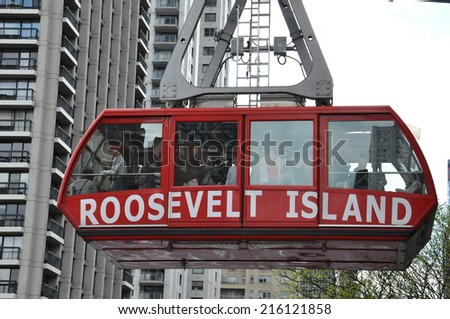 NEW YORK CITY - MAY 3: Roosevelt Island cable tram car that connects Roosevelt Island to Manhattan in New York, as seen on May 3, 2014.