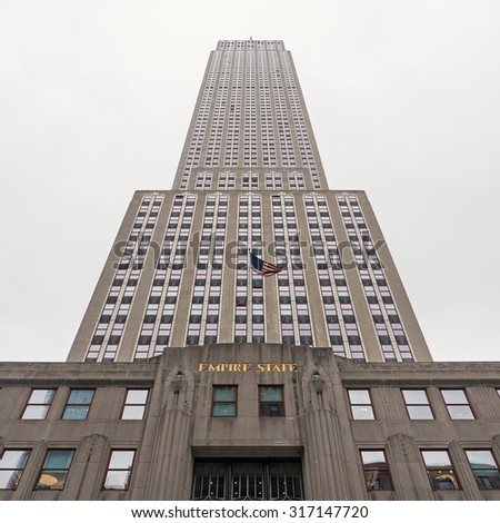 NEW YORK CITY - MAY 19, 2015: The Empire State Building view from the ground on 5th Avenue. - stock photo