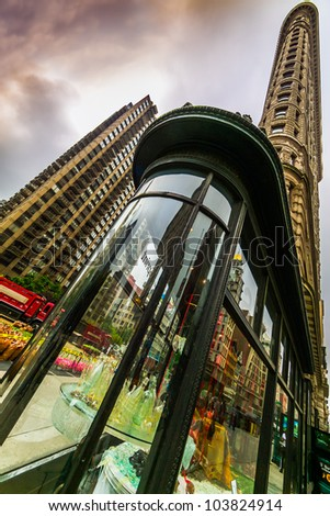 NEW YORK CITY - MAY 15: The Flatiron Building located on Fifth Avenue in Manhattan on May 15, 2012. - stock photo