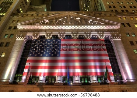NEW YORK CITY - MAY 27: The New York Stock Exchange building, the world's largest stock exchange May 27, 2010 in New York, New York. - stock photo