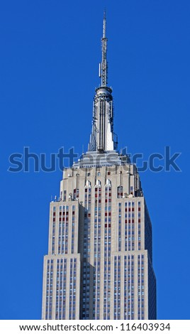 NEW YORK CITY - MAY 6: The top of the Empire State building, when completed in 1931, was the tallest building in the world on May 6th, 2012 in Manhattan, New York City. - stock photo