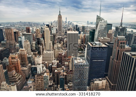 New York City midtown panorama - stock photo