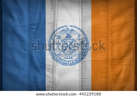 New York City,New York flag pattern on synthetic leather texture, 3d illustration style