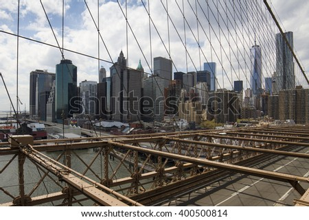 NEW YORK CITY, NEW YORK - MAY 1, 2014: New York City Manhattan Skyline from the Brooklyn bridge on May, 1st, 2014 in New York.