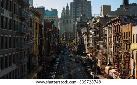 NEW YORK CITY, NEW YORK STATE/USA - OCTOBER 11, 2015: The view on Chinatown from Manhattan Bridge - stock photo
