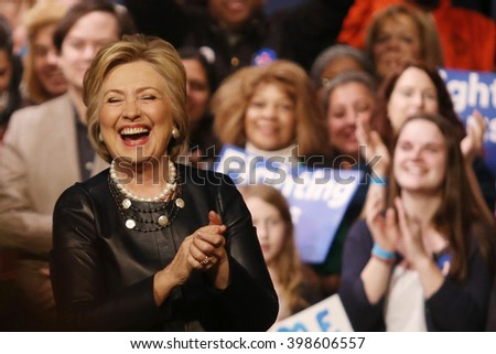 New York City, New York, USA, March 31, 2016; Democratic Presidential Candidate Hillary Clinton laughs after speaking at the Apollo Theater in Harlem, New York City.