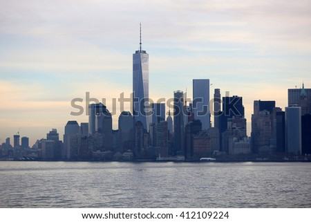 New York City, New York, USA; March 24, 2016; The One World Trade center picture along the New York skyline in the morning.