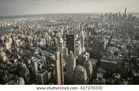 New York City, New York, USA May 17, 2013: Aerial view of Manhattan from the terrace of the Empire State building - stock photo