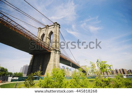 NEW YORK CITY, NEW YORK, USA MAY 2016: Brooklyn Bridge under the blue sky. Editorial only.