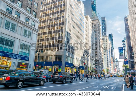 NEW YORK CITY, NEW YORK, USA  MAY 20, 2013: Traffic on Fifth Avenue in New York - stock photo