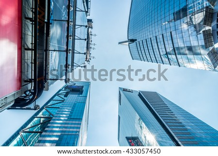 NEW YORK CITY, NEW YORK, USA MAY 21, 2013: view angle shot of several buildings on Fifth Avenue in New York - stock photo