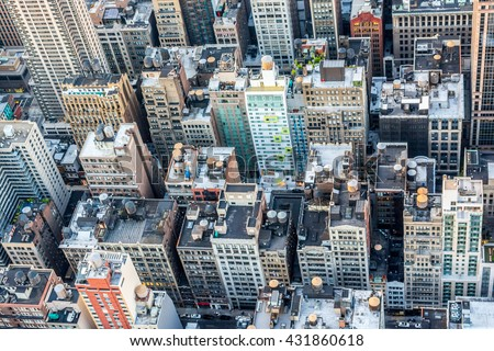 NEW YORK CITY, NEW YORK, USA â?? MAY 17, 2013: View from the Empire State Building - stock photo