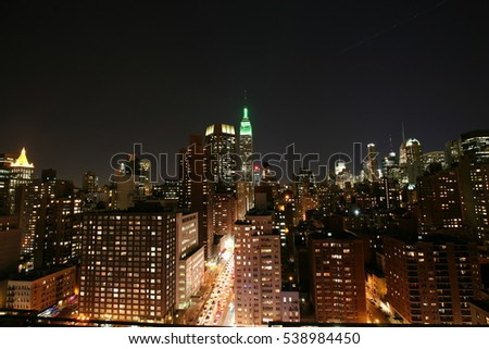 New York city night light with building view