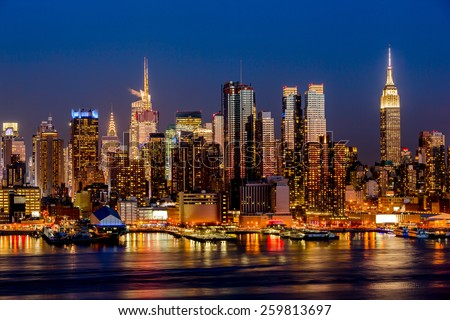 New York City night skyline Manhattan midtown buildings