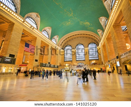 NEW YORK CITY - NOV 13: Famous New York City landmark Grand Central Station full of tourists and shoppers at Christmas, November 13th, 2011 in Manhattan, New York City. - stock photo