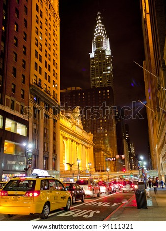 NEW YORK CITY - NOV 13: Grand Central on 42nd Street, is a famous and busy intersection for taxi cabs, tourists and commuters, November 13th, 2011 in Manhattan, New York City. - stock photo