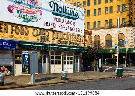 NEW YORK CITY-NOV 20:The historic Nathan's Hot Dogs original flagship location, which opened in 1916 in Coney Island, NYC on Nov. 20, 2010.The hot dogs are now sold in 40K locations the world over. - stock photo