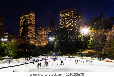 NEW YORK CITY-NOV. 9: The Wollman Ice Rink in Central Park on Nov. 9, 2012 in New York City. Operations are back to normal after a big storm dropped 4 inches of snow on the rink two days ago. - stock photo