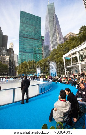 NEW YORK CITY - NOV. 3: View of Citi Pond Rink at Bryant Park, NYC on Nov. 3, 2011.  Once a potters field it's now a landmark with skating, shops, cafes, carousel, games and respite to visitors.