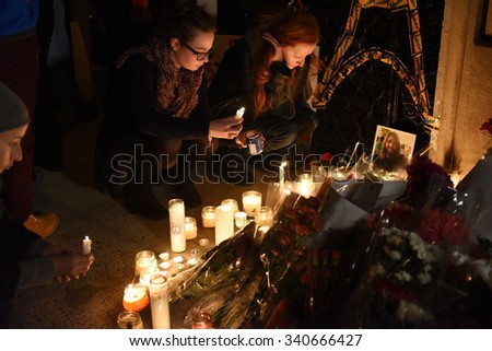 NEW YORK CITY - NOVEMBER 14 2015: A rally at Washington Square Park culminated in a candlelight vigil outside the French consulate for victims of the Paris terror attacks