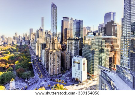 New York City - November 8, 2015: Aerial view of Central Park South and residential skyscrapers in New York City, New York by Columbus Circle. - stock photo