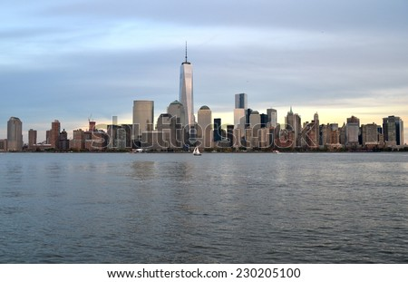 NEW YORK CITY - NOVEMBER 10, 2014: Cityscape view of Downtown Manhattan, New York City, USA. - stock photo