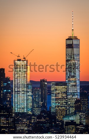 NEW YORK CITY, November 5, 2016: Freedom Tower (One World Trade Center) together with Two World Trade Center. 2 WTC just being build.