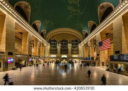 NEW YORK CITY - NOVEMBER 16: Grand Central Station at night on November 16, 2014c.  It's famous for its architecture and being the main hub in and out of New York City from around the tri state area.