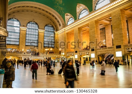 NEW YORK CITY - NOVEMBER 9 : Interior of the Grand Central Station Crowded with Commuters and Tourists. The Station is the Largest in the Wordl by Number of Platforms. New York - NY, November 9, 2010. - stock photo