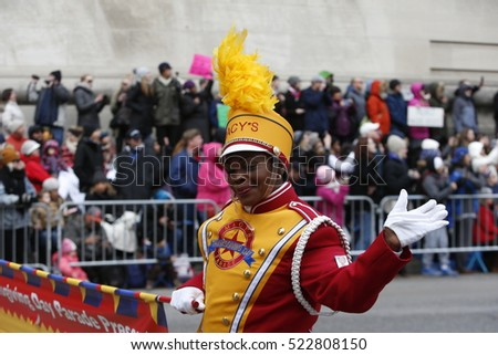 NEW YORK CITY - NOVEMBER 24 2016: Macy's Thanksgiving Day Parade celebrated its 90th anniversary with heightened security along its route.