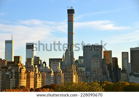 NEW YORK CITY - NOVEMBER 2, 2014: New York City Manhattan midtown view with skyscrapers, New York City, USA. - stock photo
