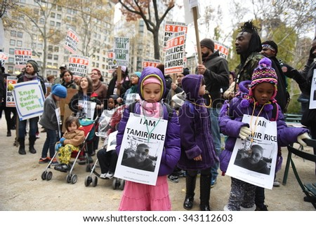 NEW YORK CITY - NOVEMBER 22 2015: Stop Mass Incarcerations Network sponsored a children's march on the anniversary of Tamir Rice's death at the hands of the Cleveland police.