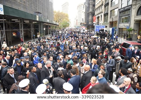NEW YORK CITY - NOVEMBER 11 2015: the city's annual Veteran's Day parade was led by the US navy & grand marshal & navy veteran Robert Morgenthau.