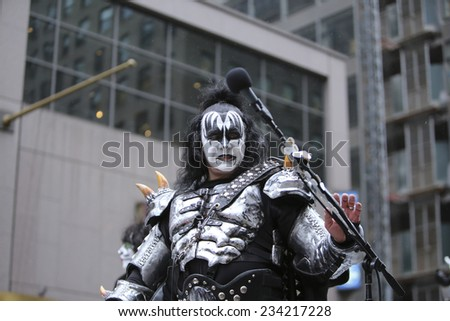 NEW YORK CITY - NOVEMBER 27 2014: the 88th annual Macy's Thanksgiving Day parade stretched from Manhattan's Upper West Side to Herald Square, viewed by 350,000 spectators. Gene Simmons of KISS